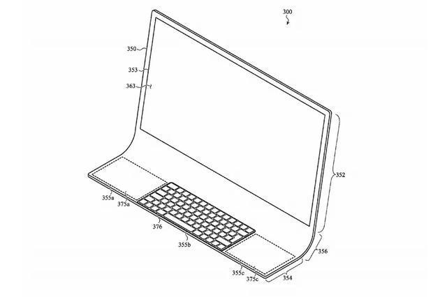 苹果新专利外观:iMac整机曲面玻璃设计,还可以折叠